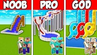 Minecraft NOOB vs. PRO vs. GOD: FAMILY WATER PARK BUILD CHALLENGE in Minecraft (Animation)