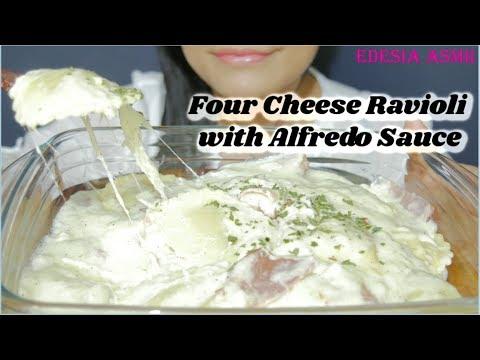 ASMR 咀嚼音 Four Cheese Ravioli with Alfredo Sauce 4種のチーズのラビオリ 4가지치즈 라비올리 먹방 *EATING SOUND*