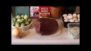 Sunday Beef Roast With Gravy, Glorified Rice Pilaf And Seasoned Brussell Sprouts