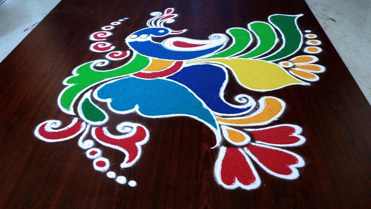 peacock rangoli designs || peacock rangoli kolam