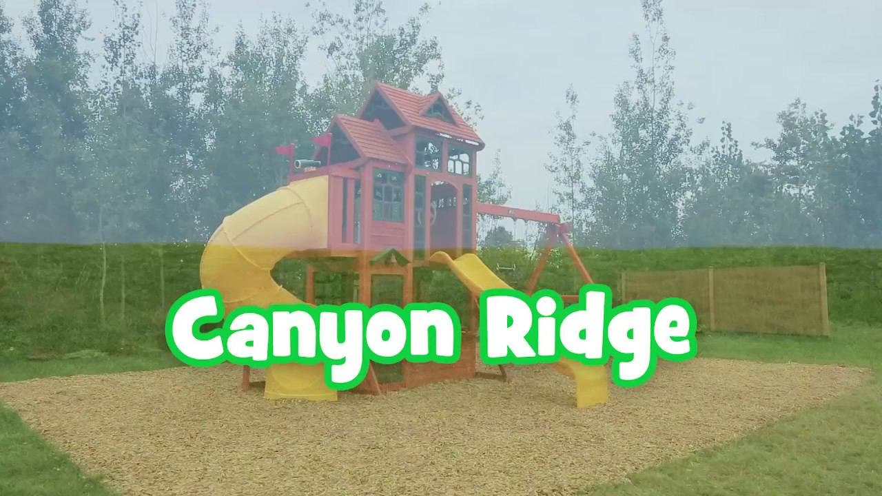 Canyon Ridge Wooden Swing Set Playhouse Outdoor Play Fun Activity