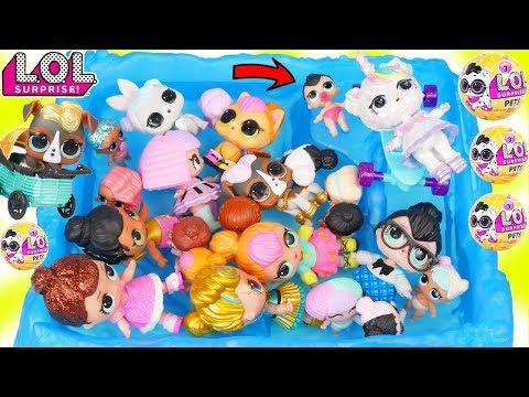 Custom LOL Surprise Dolls Play at Pool with Unicorn Lil Luxe + Customized DIY Confetti Pop Baby Pet