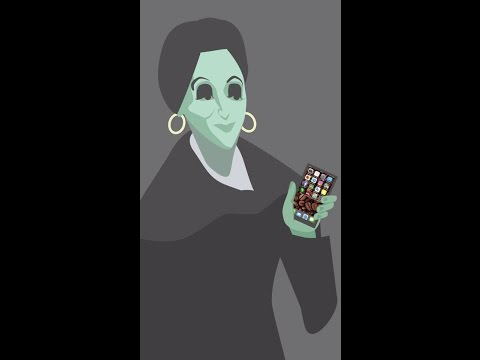 Karen Blixen bruger en smartphone