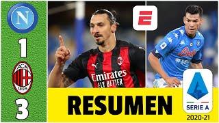 Napoli 1-3 AC Milan y son líderes. Doblete de Zlatan y salió lesionado. Chucky fue titular | Serie A