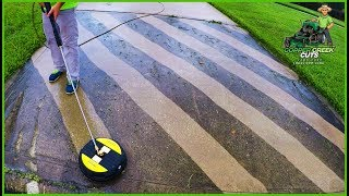 Pressure Washing The Neighbor's Dirty Driveway - Satisfying!
