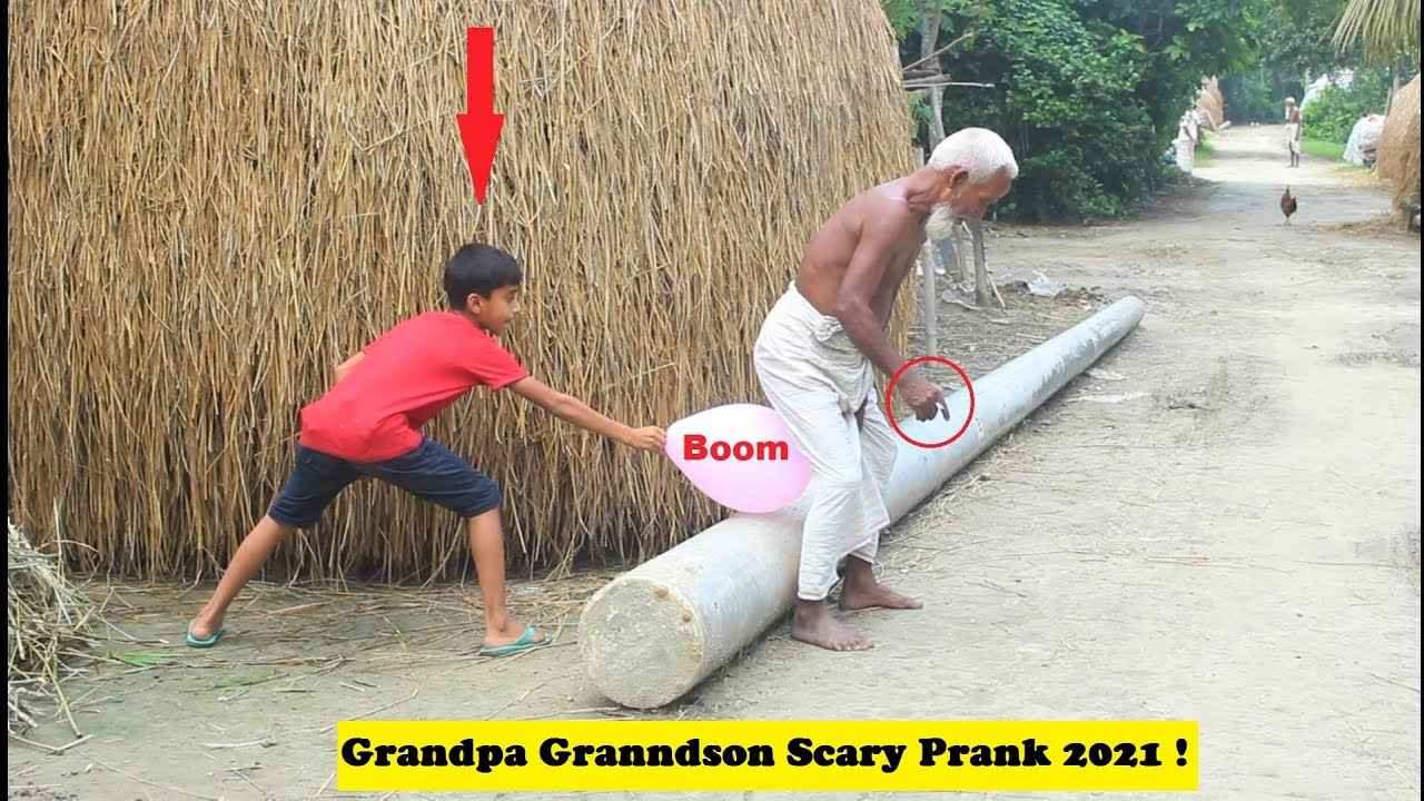 popping balloon bust scary prank 2021 ! With Grandpa || try to not laugh