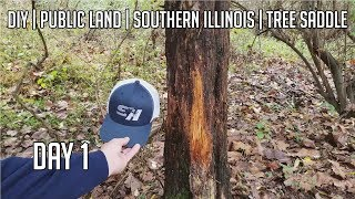 DIY Public Land Bow hunt with my Tree Saddle in Illinois - Day 1