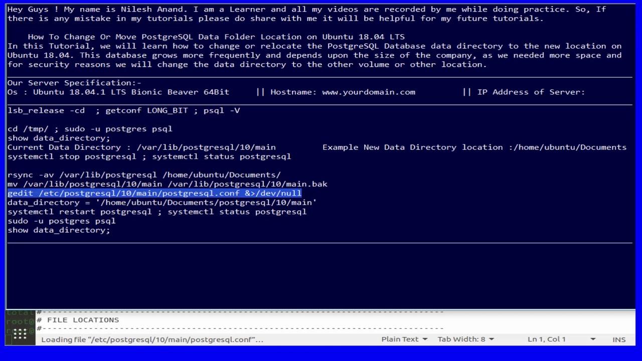 How To Change Or Move PostgreSQL Data Folder Location on Ubuntu 18 04 LTS