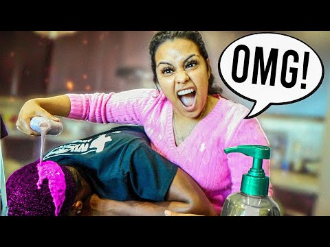 HAIR DYE PRANK ON HUSBAND!!   HE FREAKED OUT