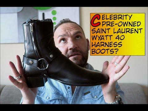 SAINT LAURENT  Wyatt 40 Harness Boots Celebrity preowned!