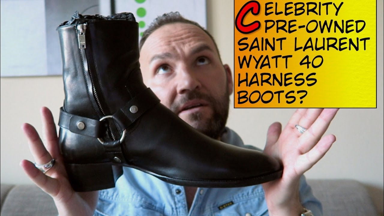 42f2585a1ee SAINT LAURENT - Wyatt 40 Harness Boots (Celebrity pre-owned!) - YouTube