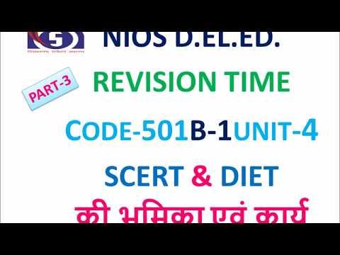 CODE-501B-1UNIT-4  SCERT & DIET  की भूमिका एवं कार्य