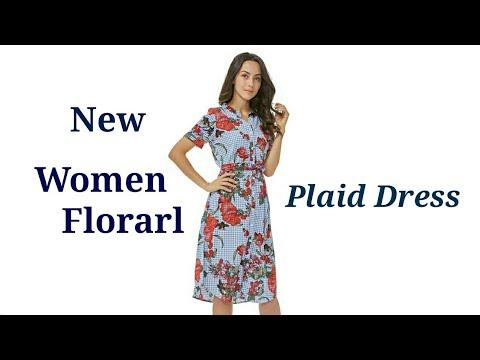women-floral-plaid-dress-review