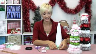 Create these festive Ribbon Christmas Trees using Paper Mart produc...