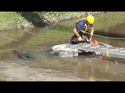 Car Removal from Salt Creek with Hillside Heavy Rescue Tow Boom at Arlington Park