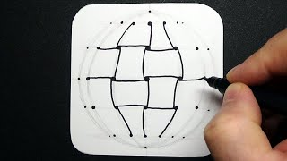 How to Draw Braid Ball - Drawing 3D Tangle on Sphere - Relaxing Art Therapy