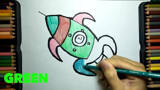 Toy Rocket coloring and drawing for kids, Toddlers   Dan Toy Art