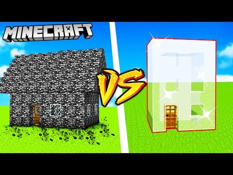 GLASS HOUSE VS BEDROCK HOUSE - MINECRAFT | VITO vs GPLAY
