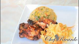 Jamaican Jerk Stir Fried Rice Served Bbq Chicken & Veg