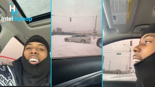 Pooh shiesty almost wrecks his car trying to do donuts in the snow ❄️ in the intersection 👀