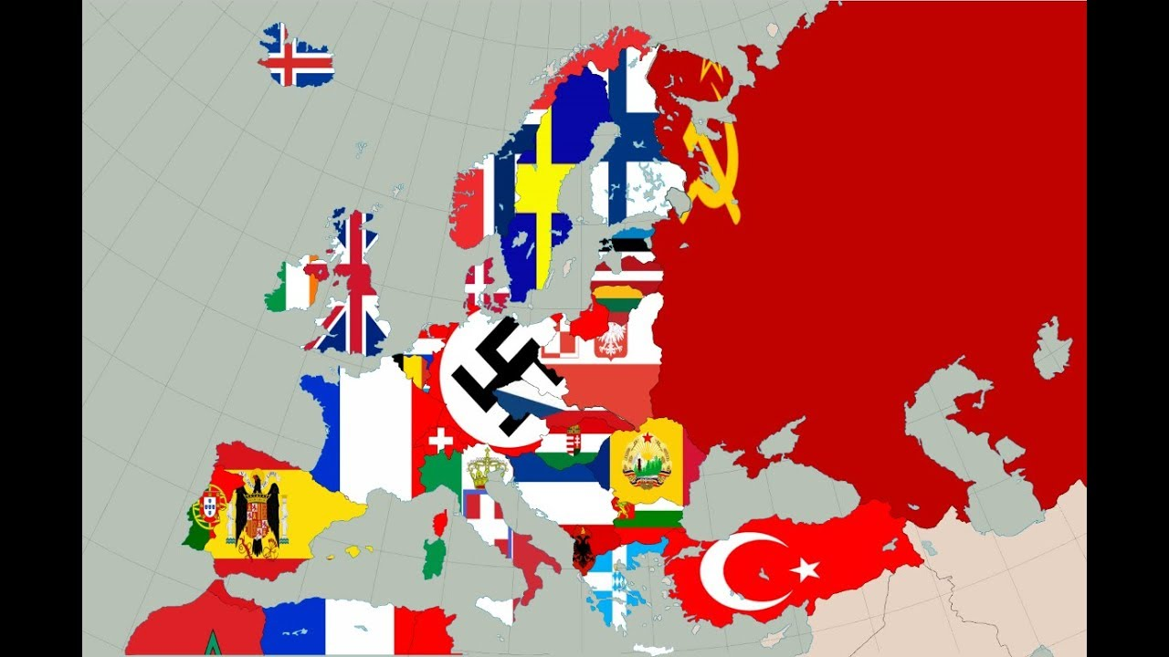Map Of Europe (1938) - Flag Map Speed Art - YouTube