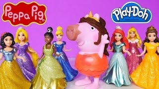 Play Doh Peppa Pig Princess Hair Makeover Disney Ariel Cinderella Belle Snow White Rapunzel Play-Doh
