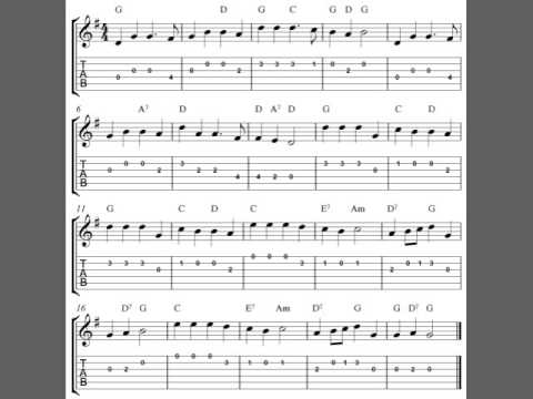 Free easy Christmas guitar tab sheet music, Hark! The Herald Angels Sing
