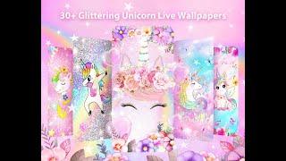 Glitter Unicorn Live Wallpapers Themes screenshot 2