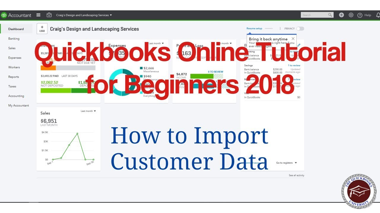 Quickbooks Online Tutorial for Beginners 2018 - How to Import Customer Lists