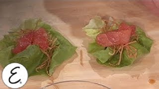 Fresh Tuna Lettuce Wraps With Crispy Wonton Threads - Emeril Lagasse
