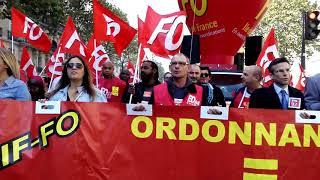 La CGT-FO à la manifestation du 21 septembre 2017, Paris. Vidéo 2
