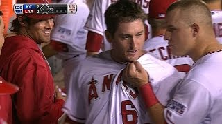 David Freese sends a solo shot to left field