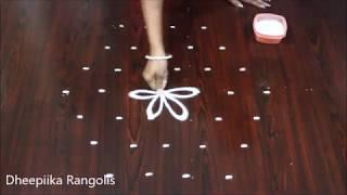 very easy lotus rangoli with 7 dots * small daily kolam design * simple muggulu designs