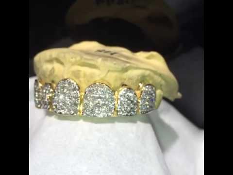 14k Gold 6 Teeth Diamond Invisble Setting v.s Grill New ...
