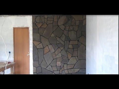 Как обложить печь камин камнем речным плитняком как сделать раствор  часть-1