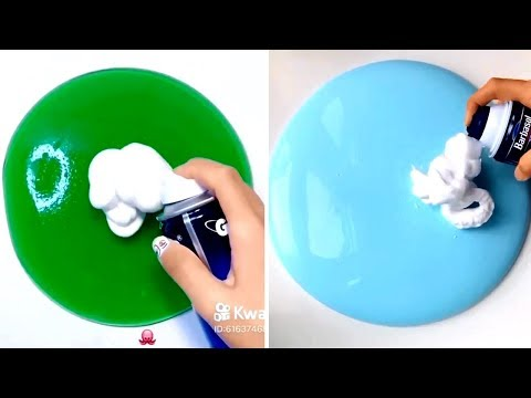 Shaving Cream Mixing Into Slime - Satisfying Slime