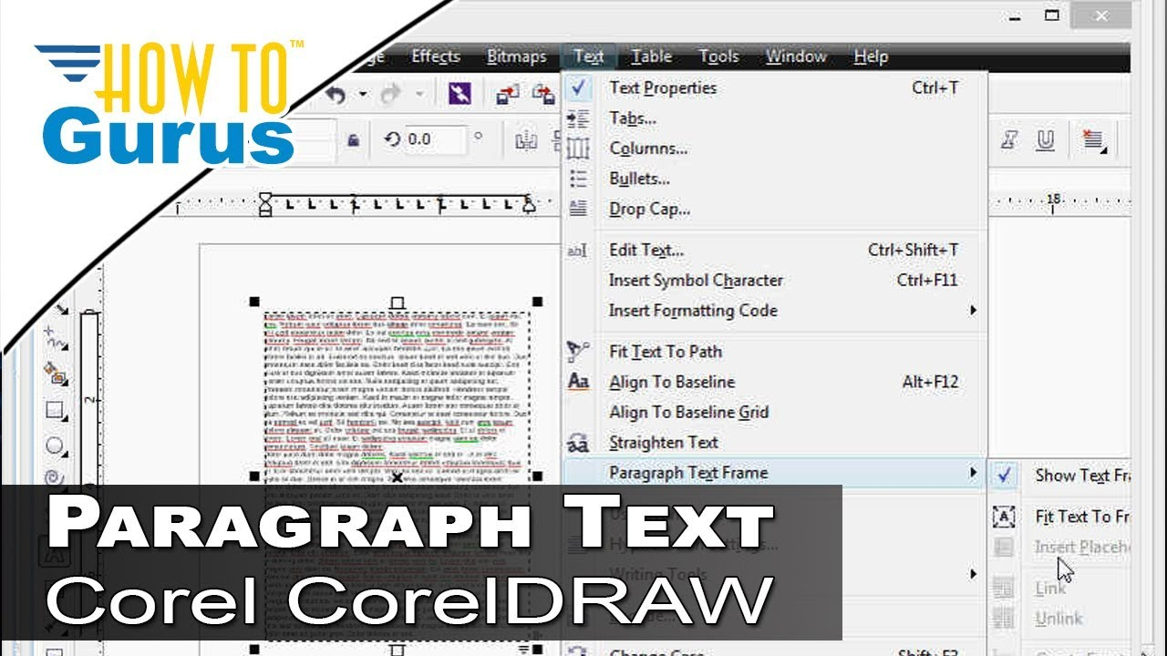 How to use Paragraph Text Frames CorelDRAW Corel Draw Text Tutorial