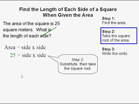 How to Find the Length of Each Side of a Square When Given the Area of a Square  YouTube