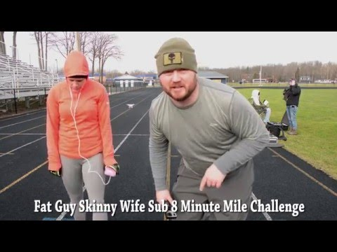 Fat Guy VS Skinny Wife  Sub 8 Minute Mile Challenge  W Drone age