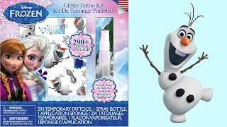 FROZEN GLITTER TATTOO KIT Unboxing - Queen Elsa, Princess Anna, Snowman Olaf Tattos Time !!!