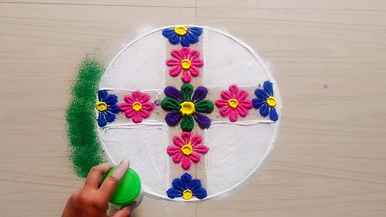 How to make easy and simple/unique Christmas rangoli designs by ...