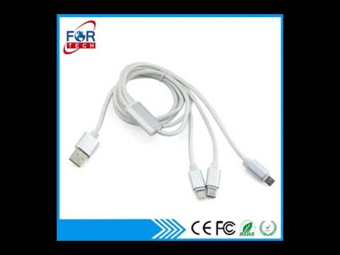 China 3-in-1 Nylon Micro USB Cable from Shenzhen Wholesaler