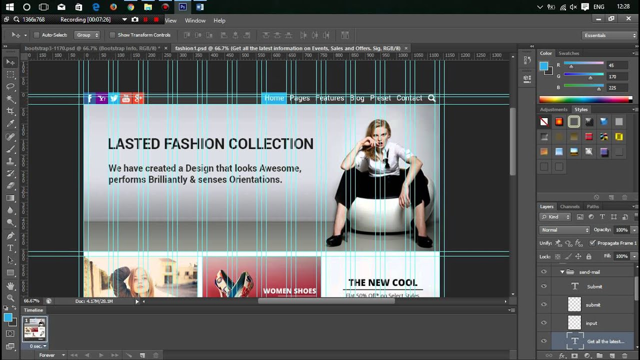 Design web layout with bootstrap grid youtube for Draw website layout online