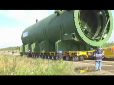 Перевозка двух 800-тонных реакторов. Колпино, Санкт-Петербург.