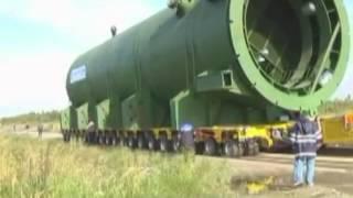 Перевозка двух 800-тонных реакторов. Колпино, Санкт-Петербург.(, 2014-11-20T12:40:46.000Z)