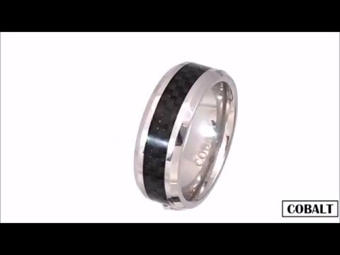 Cobalt Chamfered Ring with Black Carbon Fibre Inlay