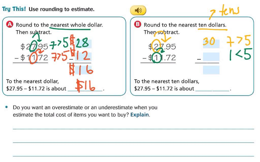 Lesson 3.7 Estimate Decimal Sums and Differences