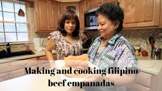 Two filipino aunties cooking  beef empanadas recipe