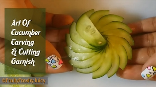 Repeat youtube video The Art Of Cucumber Carving & Cutting - How To Make Cucumber Flower