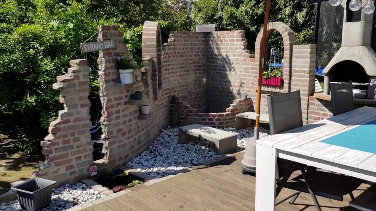 Ruinenmauer Gartenmauer mit Terrasse und Teich YouTube